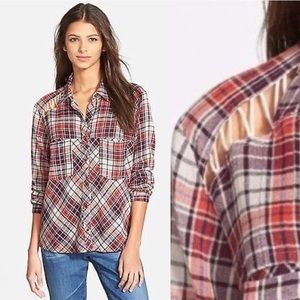 Free People Laced Shoulder Snap Button Plaid Shirt